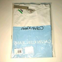 Calvin Klein Jeans Men's Graphic T-Shirt - L - White & SKy B