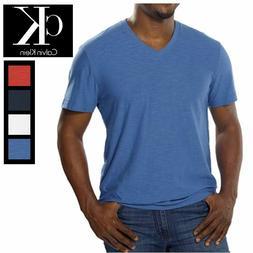 Calvin Klein Jeans Men's V Neck Tee Shirt, 100% Cotton Slub,