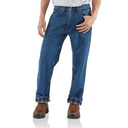 Carhartt Jeans Pants Straight Leg Relaxed Fit Flannel Lined