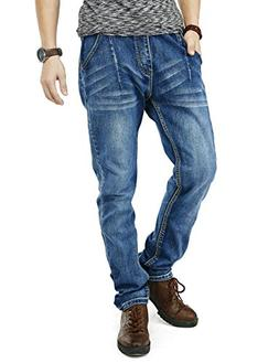 PY-BIGG Mens Jeans Relaxed Fit Big Tall Jogger Pants Cuffed