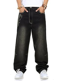 PY-BIGG Mens Jeans Relaxed Fit Big & Tall Baggy Hiphop Skate