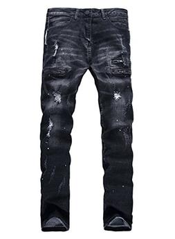 YTD Men's Zipper Biker Jeans Ripped Distressed Slit Denim Sl