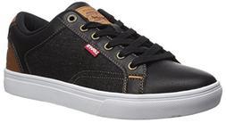 Levi's Men's Jeffery 501 Denim Sneaker, Black/Tan, 10 M US