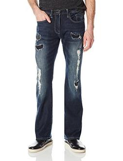Buffalo David Bitton Men's King Slim Boot Cut Jean Wash, Des