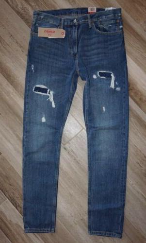NEW Men's Levi's 512 Dark Wash Slim Taper Distressed  Jeans