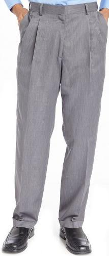 Haggar Mens Straight Leg Pleated Pants 42W x 29L Grey