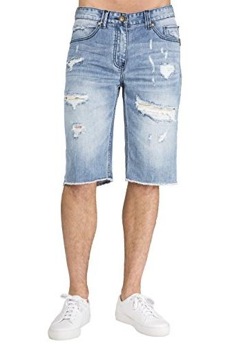 Level 7 Men's Light Blue Relax Premium Denim Cut Off Shorts