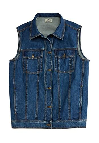 Liberty Blues Men's Big & Tall Button Front Cotton Denim Ves