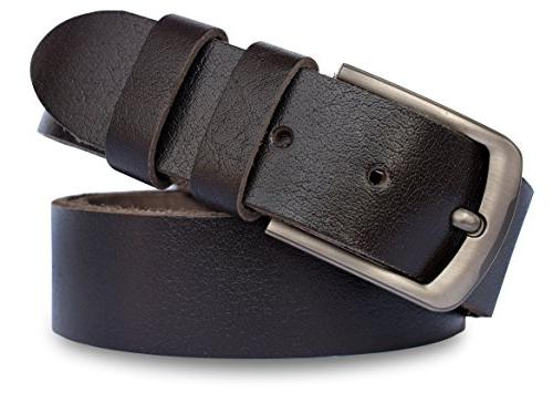 MT Men's Full Grain leather Belt for Jeans, 1.5'' Soft and