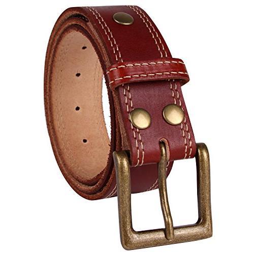 NPET Mens Leather Belt Double Stitched Full Grain Vegetable Tanned Belts