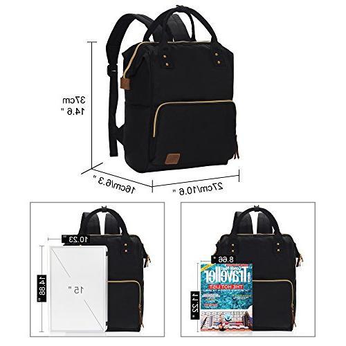 Veegul Wide Open School Backpack Lightweight Bag 18L Black