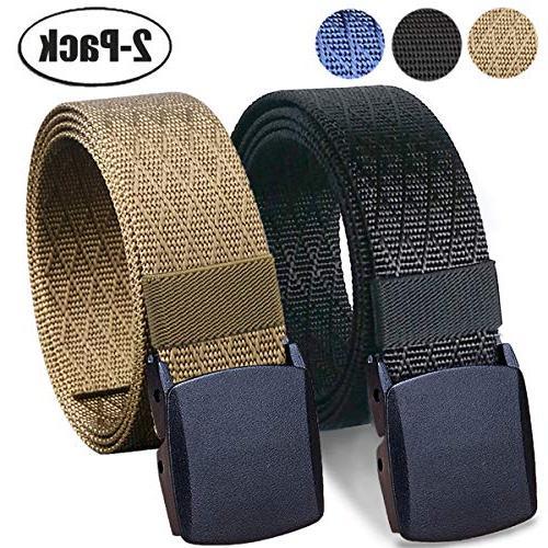 "WYuZe 2 Pack Nylon Belt Outdoor Military Web Belt 1.5/"" Men Tactical Webbing Belt"