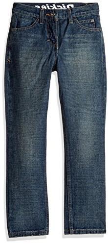 Dickies Big Boys' Slim Tapered Fit 5-Pocket Jean, Aged Mediu