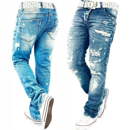 casual designer men jeans pants holes ripped
