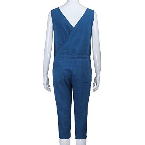 Clearance Sales! Women Pants DEATU Ladies Cool Denim neck Jumpsuit Trousers Harem Rompers