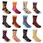 Men's Cotton Blend Socks Fun & Funky Patterns & Colors 12 Pa