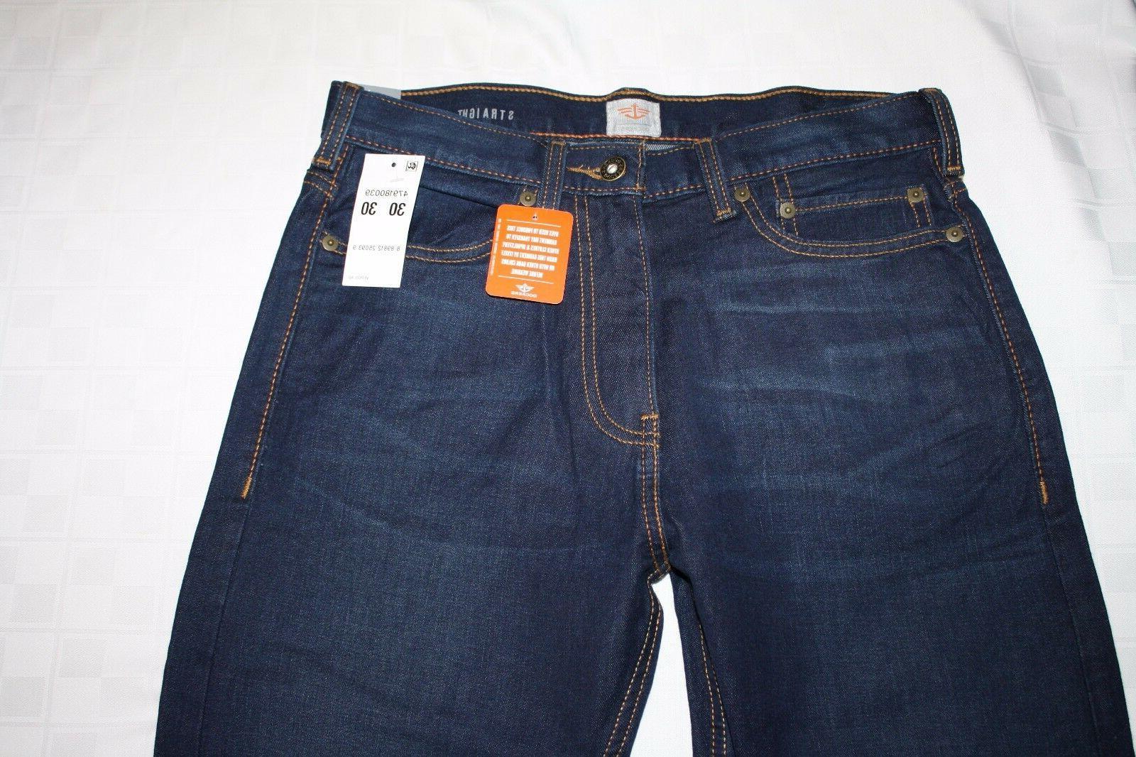 Distressed DOCKERS 5-Pocket Straight Fit Men's Dark Blue Jea