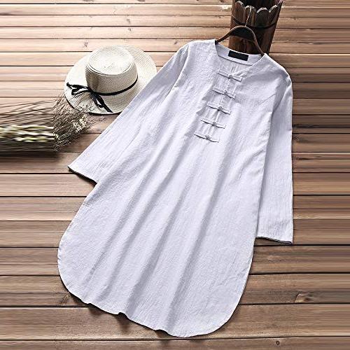 POHOK Plus Size Button Half Linen