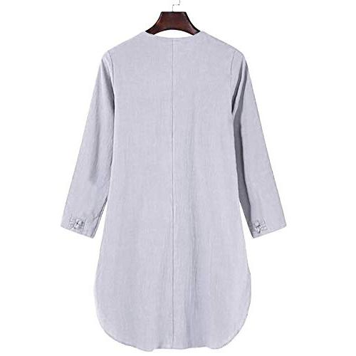 POHOK Size Bohemia Casual Solid Button Linen