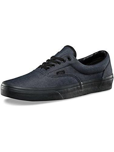 b163e27cf6 Vans Unisex Era Mono Chambray Skate Shoes-Black-8-Women 6.5-Men