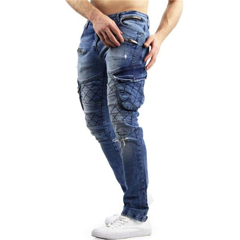 MORUANCLE Fashion <font><b>Jeans</b></font> Pants And Zippers Distressed Denim Trousers For Size