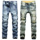 Fashion Men's Light Blue Ripped Destroyed Jeans Straight Sli