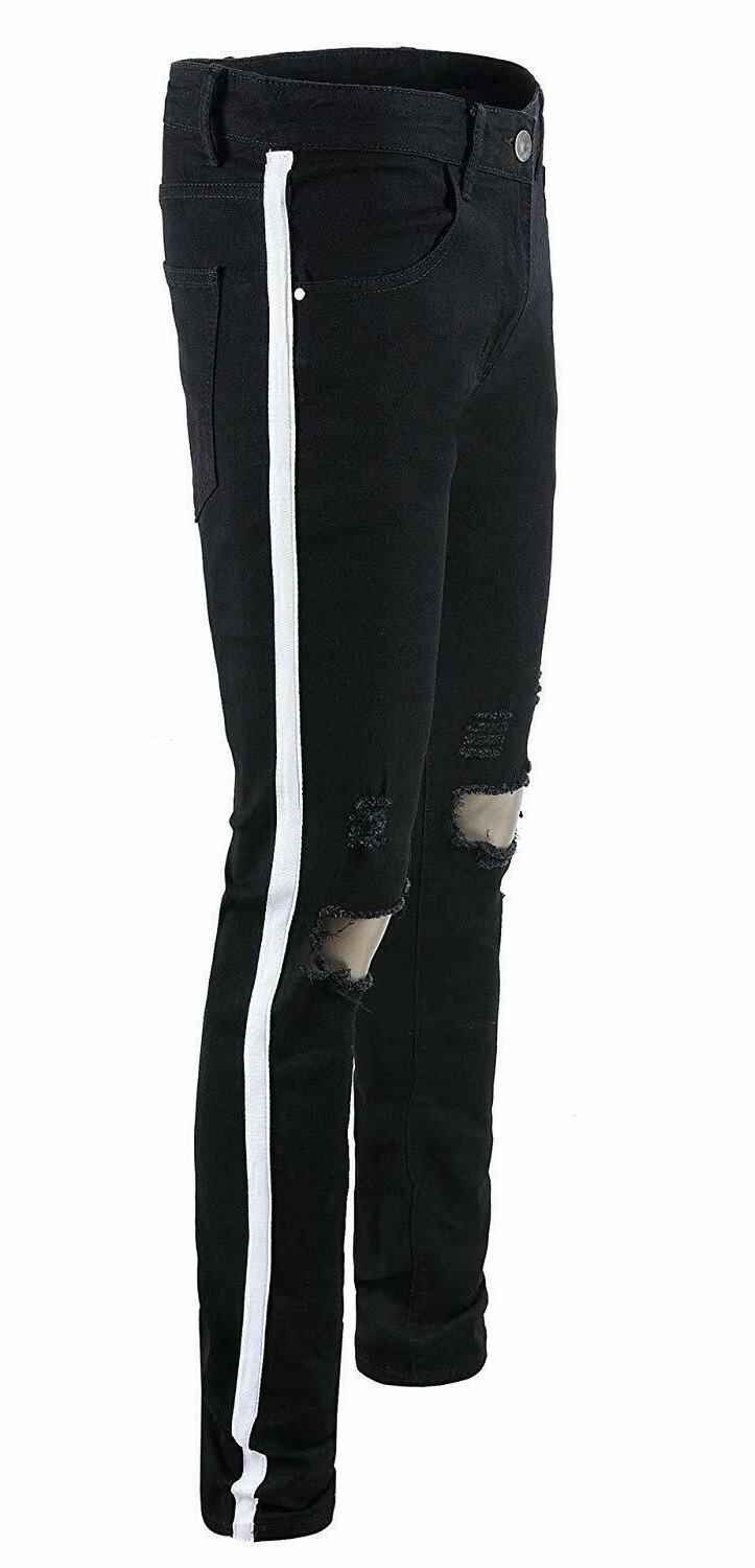 FEESON Ripped Jeans Skinny Stretchy Side Color Ribbon