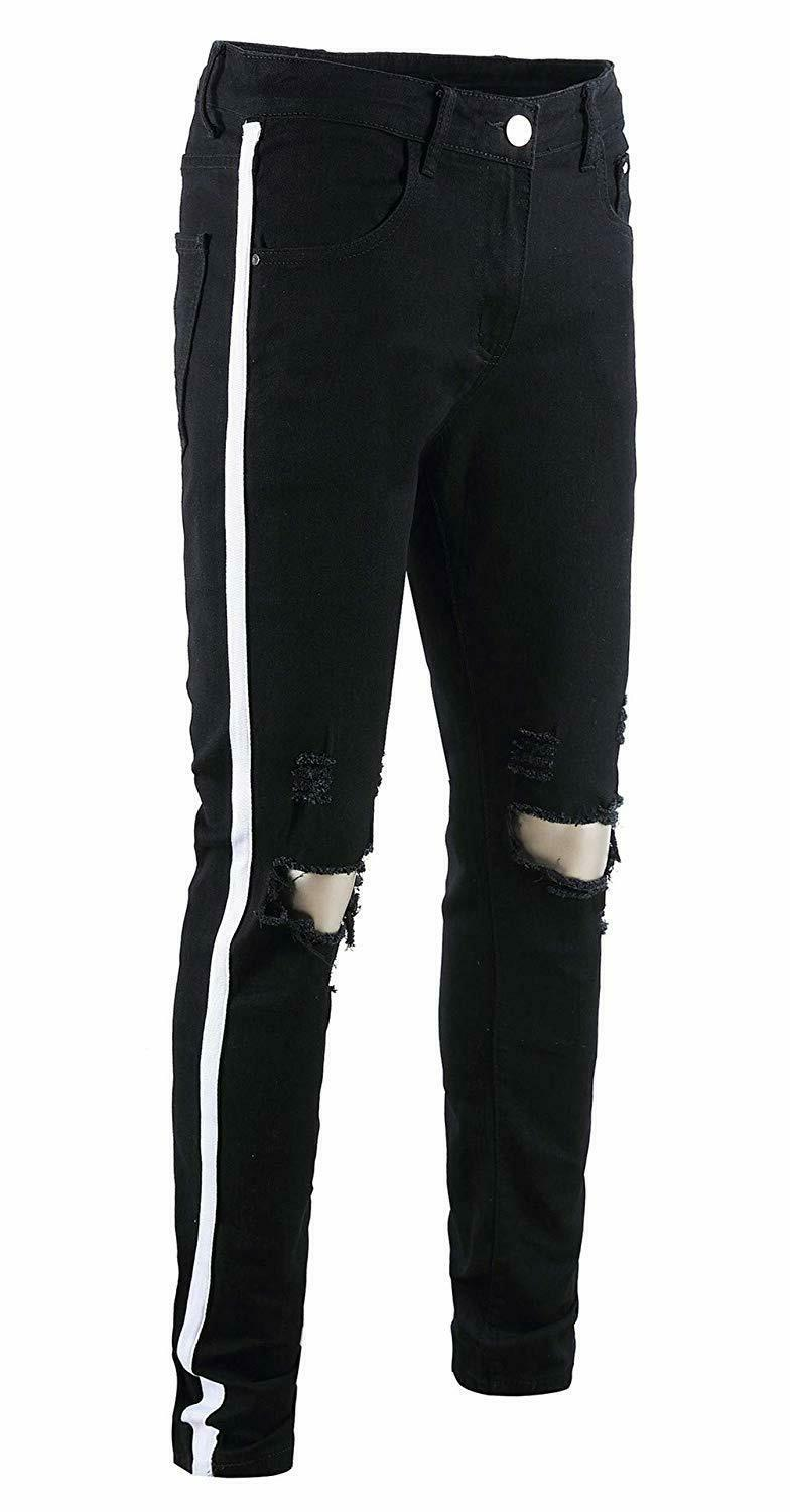 FEESON Men's Ripped Skinny Side Color Ribbon