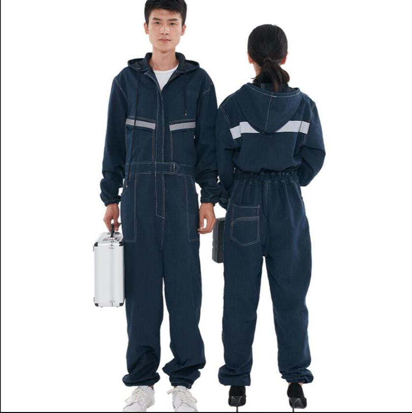 <font><b>S</b></font>-4XL Denim overalls women welder dust-proof tooling reflective long-sleeved plus size clothes