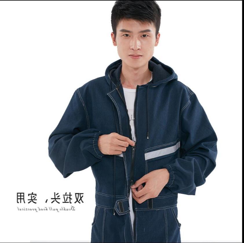 <font><b>S</b></font>-4XL Denim <font><b>men</b></font> women dust-proof long-sleeved plus working clothes