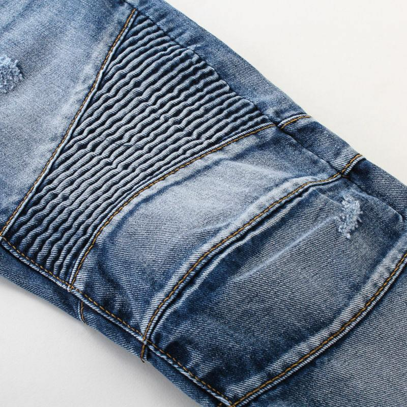 France Biker Jeans Straight Fit Denim Blue