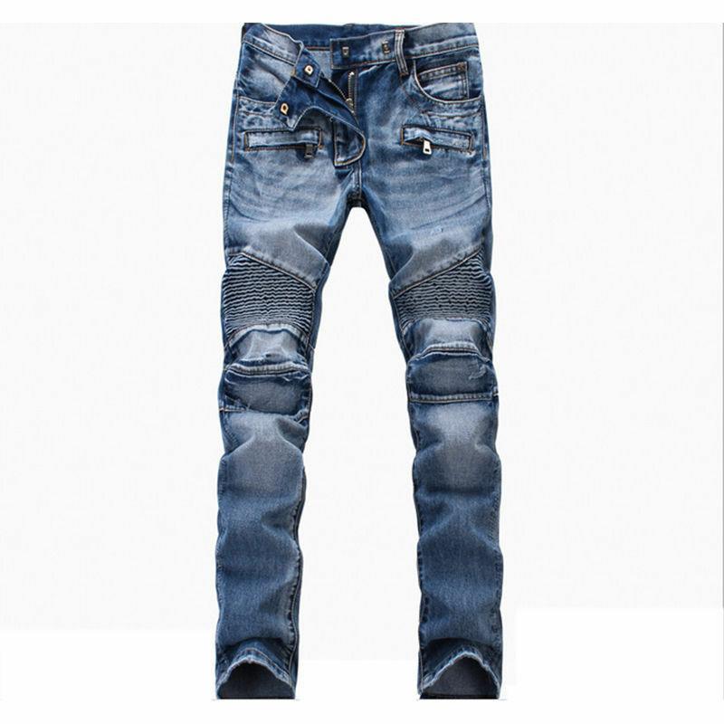 France Style Biker Jeans Fit Pants