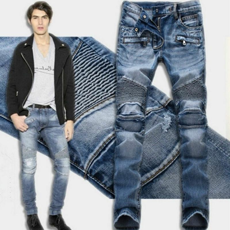 france style men moto biker jeans straight
