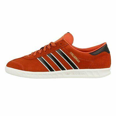 ADIDAS HAMBURG MENS RED LEATHER SUEDE SHOES JEANS CRAFT CHIL