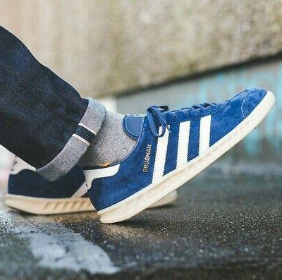 ADIDAS HAMBURG MENS SHOES BLUE SUEDE LEATHER JEANS