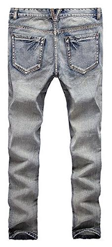 LOKOUO Fashion;Handsome Men's Ripped Slim Fit Straight Denim