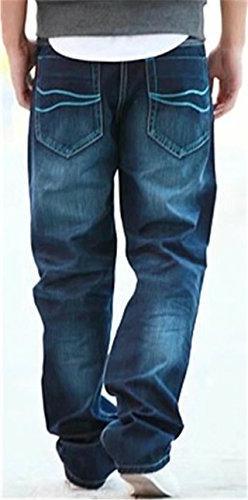 DigerLa Men's Hip Hop Baggy Straight Jeans Pants Blue