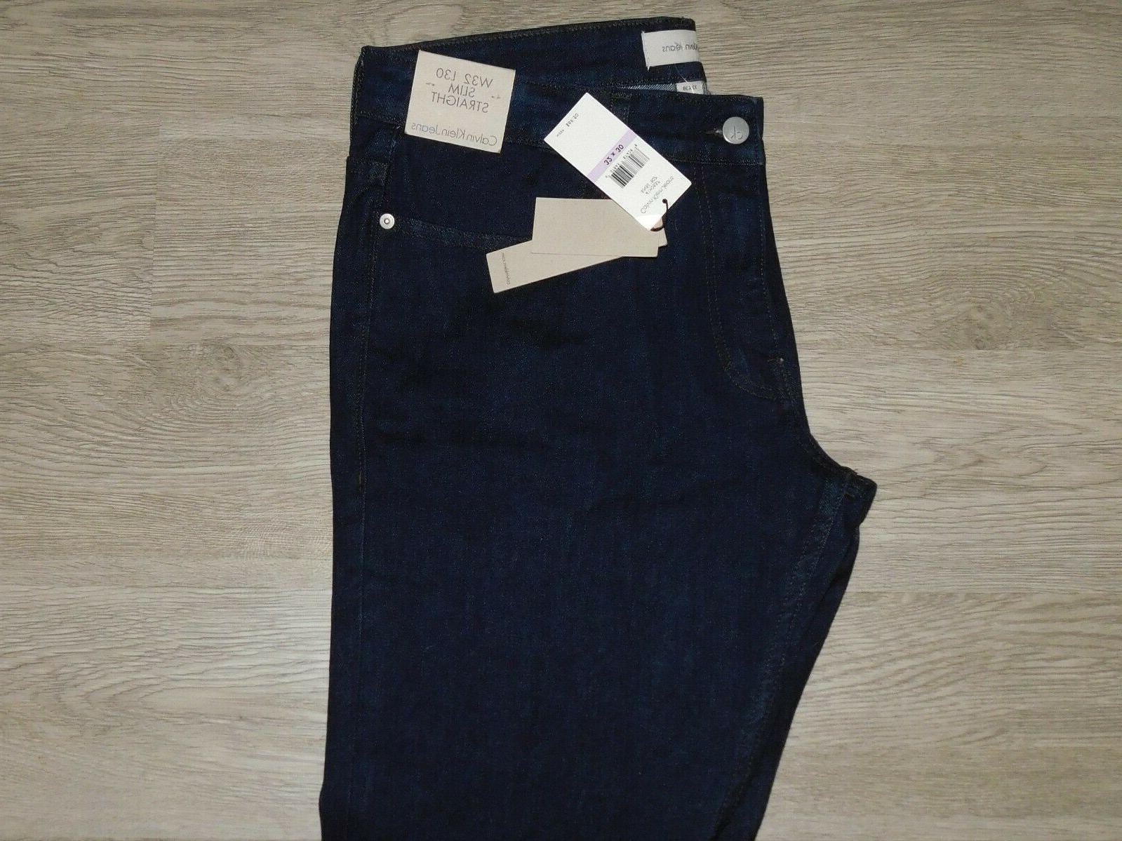 Calvin Klein Slim Straight Rinse Dark $69 32x30