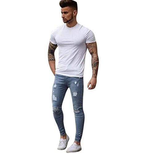 jeans stretchy ripped pants slim