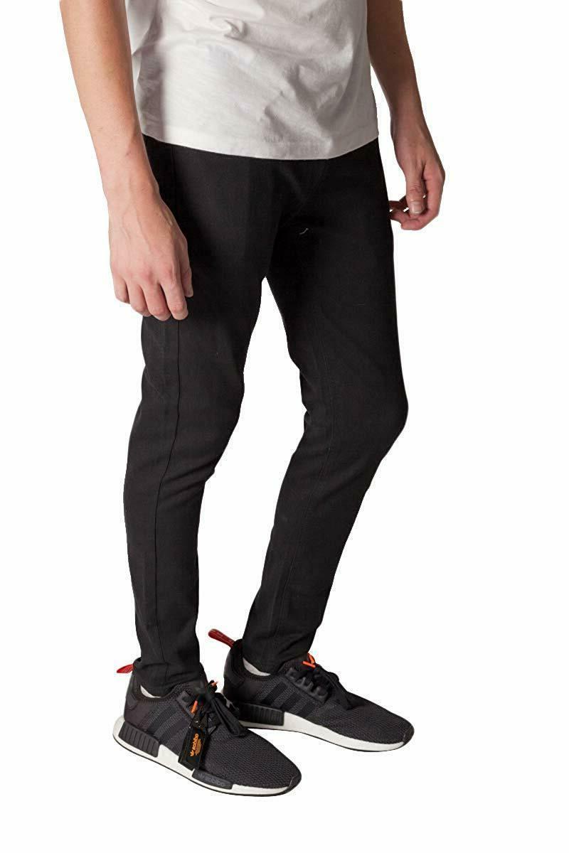 KAYDEN.K JET BLACK Skinny Stretch Twill Denim Pants 28-42