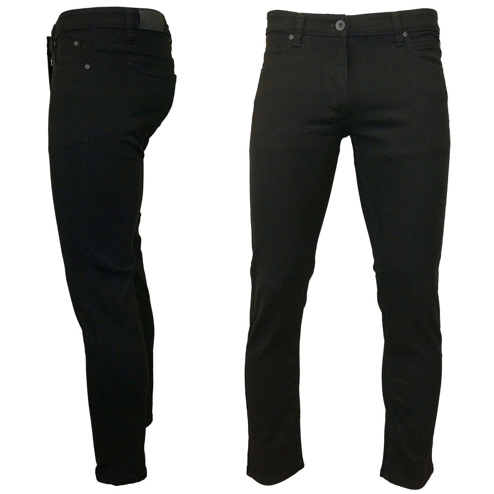 KAYDEN.K JET BLACK Men/'s Skinny Fit Stretch Twill Denim Jeans Pants Size 28-42