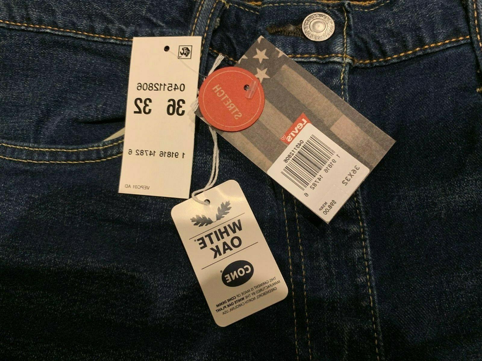 Levi's 511 Slim Fit Made In White Oak Stretch Jeans 36X32 NWT
