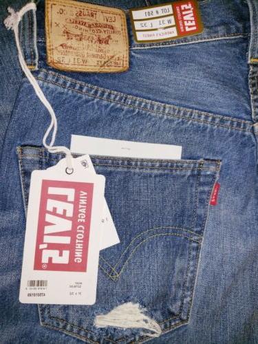 Levi's Vintage Clothing 1947 Big E Selvedge Distressed Jeans