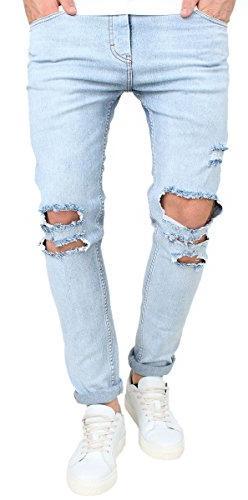 Men's Light Blue Elastic Skinny Slim Fit Rolled Up Jeans wit