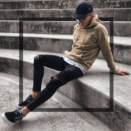 Men Black Ripped Long Denim Trousers
