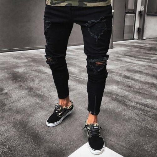 Men Black Pants Ripped Denim Trousers