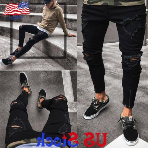 men black skinny jeans pants stretchy destroyed