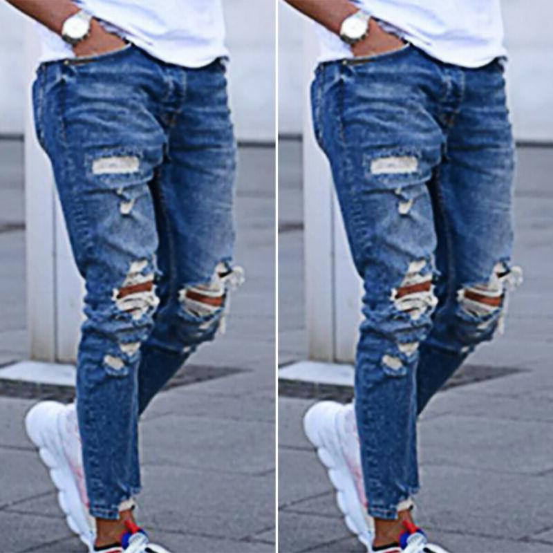 Men Skinny Stretch Ripped Jeans Pants Distressed Slim Fit De