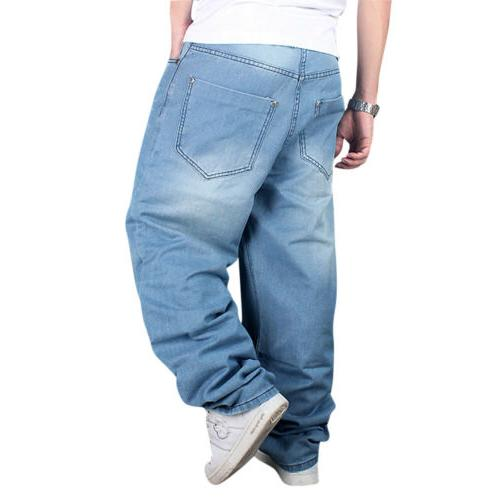 Men Loose Denim Hip-Hop Rap Skateboard Pants Streetwear