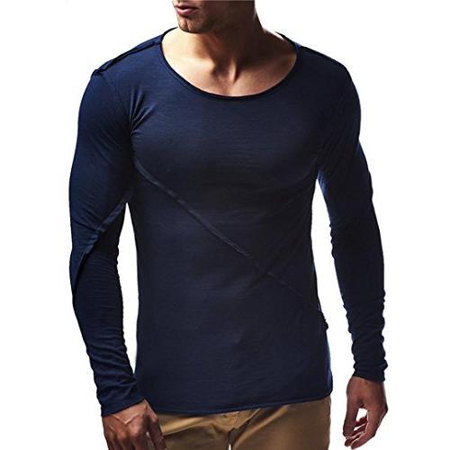 men long sleeve solid loose